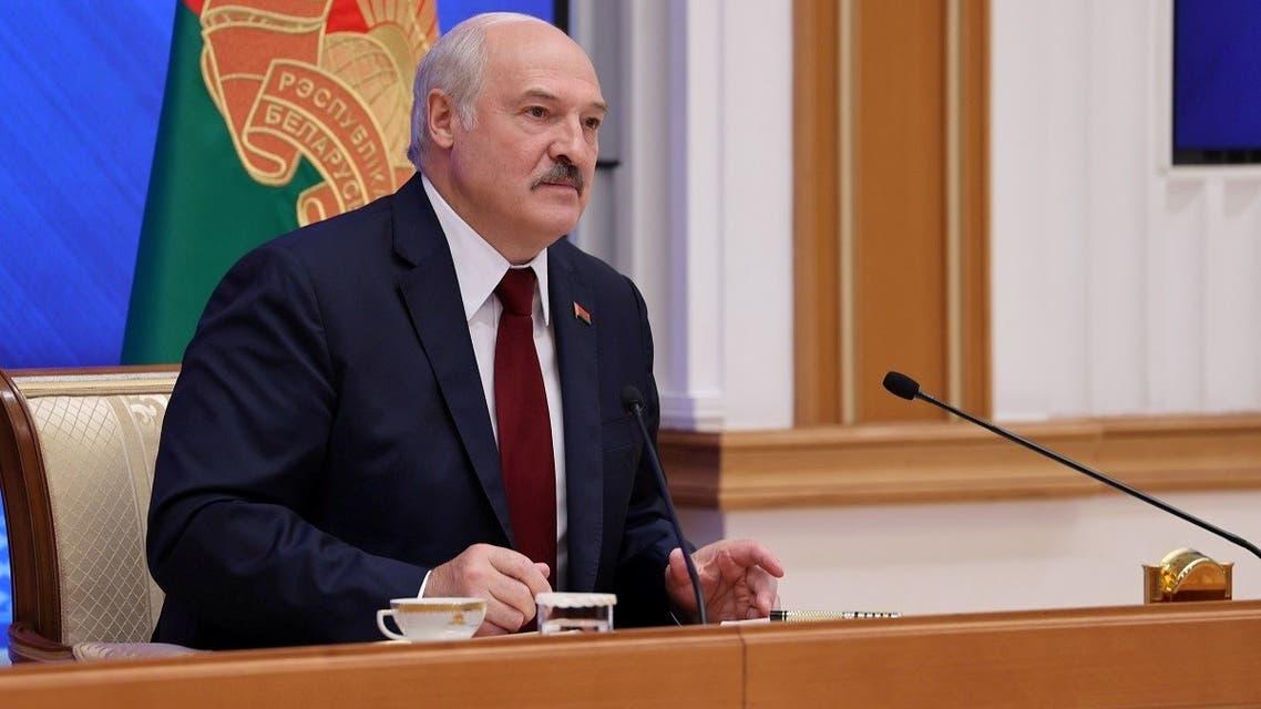 Belarusian President Alexander Lukashenko holds a news conference in Minsk, Belarus August 9, 2021. (Maxim Guchek/BelTA/Handout via Reuters)