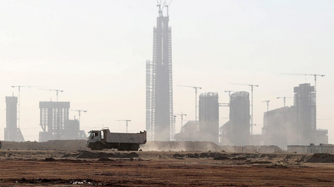 A general view of the construction site of the futuristic tower skyscraper in a business district that is being built in the New Administrative Capital (NAC) east of Cairo, Egypt, on July 5, 2021. (Reuters)