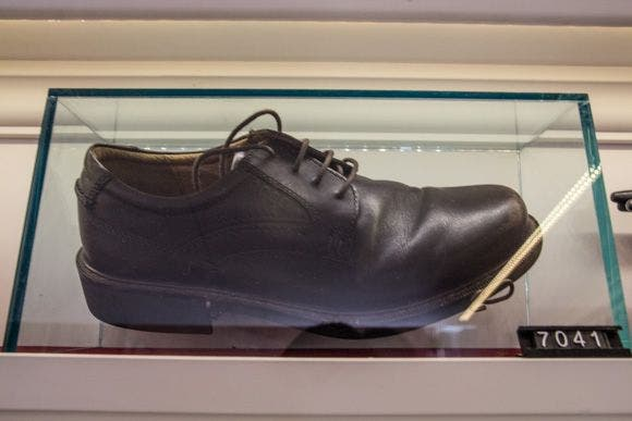 Shoes thrown at President George W Bush. Price tag: $10million. (Supplied)