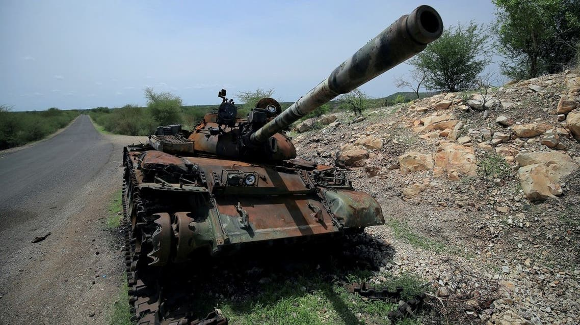 A tank damaged during the fighting between Ethiopia's National Defense Force (ENDF) and Tigray Special Forces stands on the outskirts of Humera town in Ethiopia on July 1, 2021. (Reuters)
