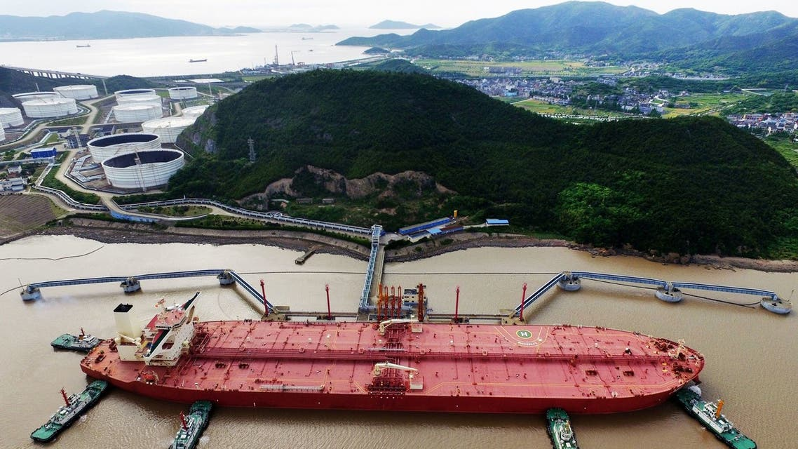 FILE PHOTO: A VLCC oil tanker is seen at a crude oil terminal in Ningbo Zhoushan port, Zhejiang province, China May 16, 2017. Picture taken May 16, 2017. REUTERS/Stringer ATTENTION EDITORS - THIS IMAGE WAS PROVIDED BY A THIRD PARTY. CHINA OUT./File Photo