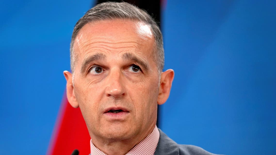 German Foreign Minister Heiko Maas addresses the media during a joint news conference with his counterpart from Bahrain, Abdullatif bin Rashid Al-Zayani, after a meeting in Berlin, Germany, August 11, 2021. Michael Sohn/Pool via REUTERS