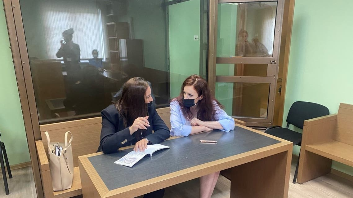 Kira Yarmysh (R), spokesperson for jailed Kremlin critic Alexei Navalny, attends a court hearing in Moscow, Russia, on July 21, 2021. (Reuters)