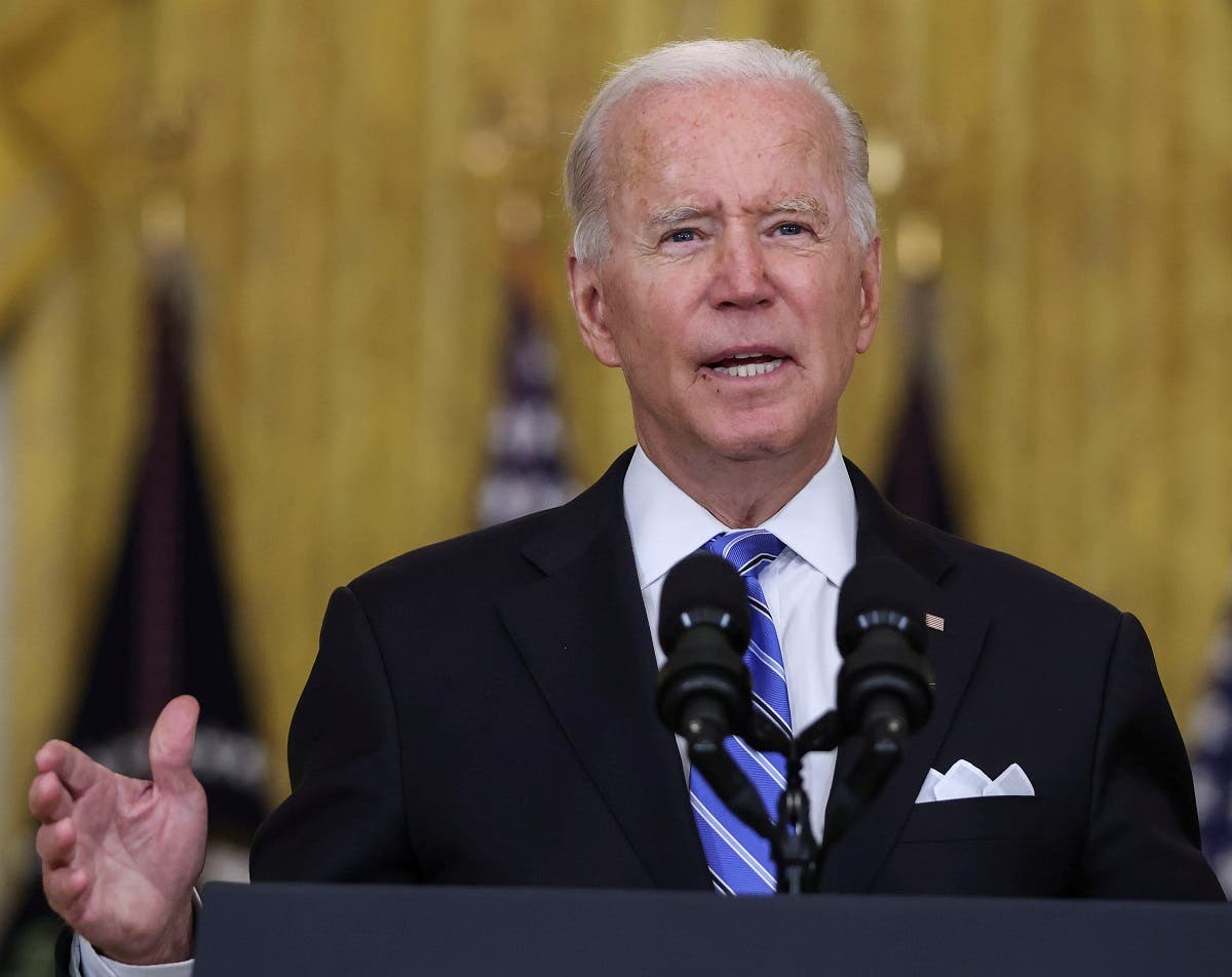 Biden speaks during a speech in the East Room at the White House following early morning Senate session, Washington, US, August 11, 2021. (Reuters/Evelyn Hockstein)