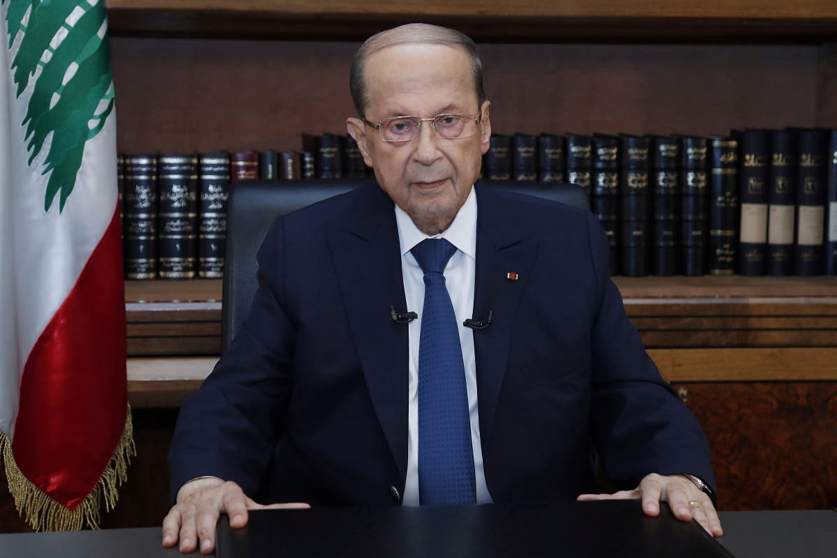 Lebanon's President Michel Aoun sits inside the presidential palace on the eve of the first anniversary of Beirut port explosion, in Baabda, Lebanon August 3, 2021. (File photo: Reuters)