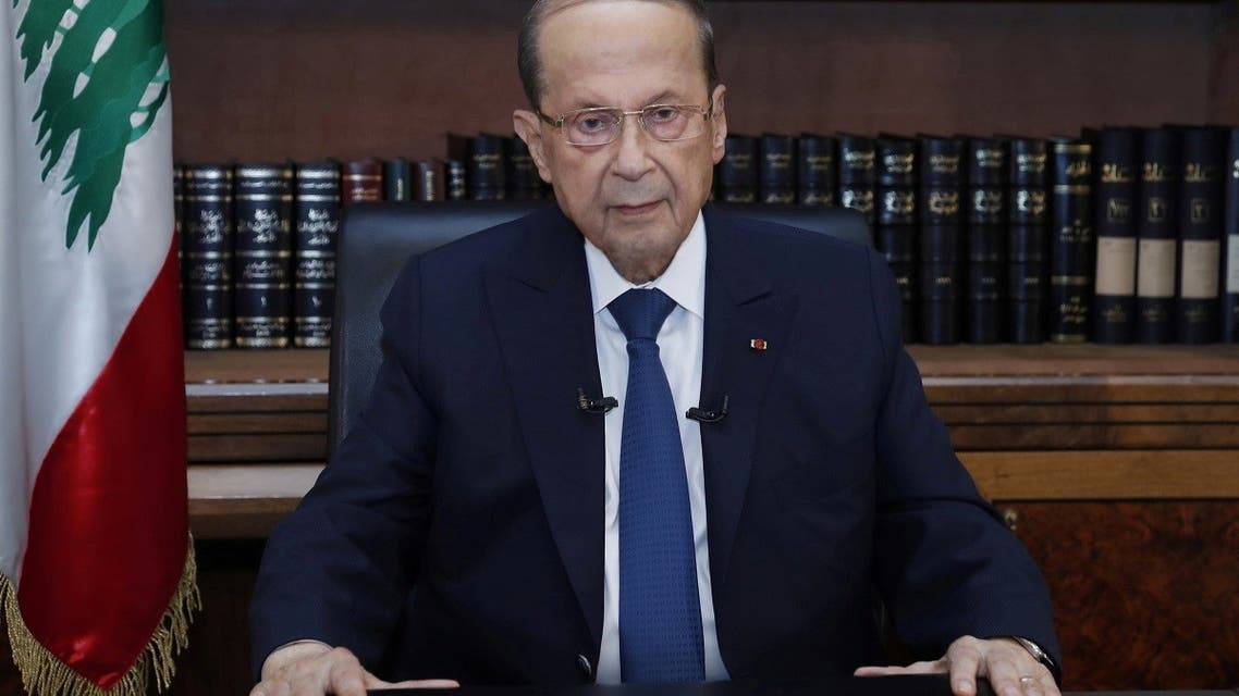 Lebanon's President Michel Aoun sits inside the presidential palace on the eve of the first anniversary of Beirut port explosion, in Baabda, Lebanon August 3, 2021. (Reuters)