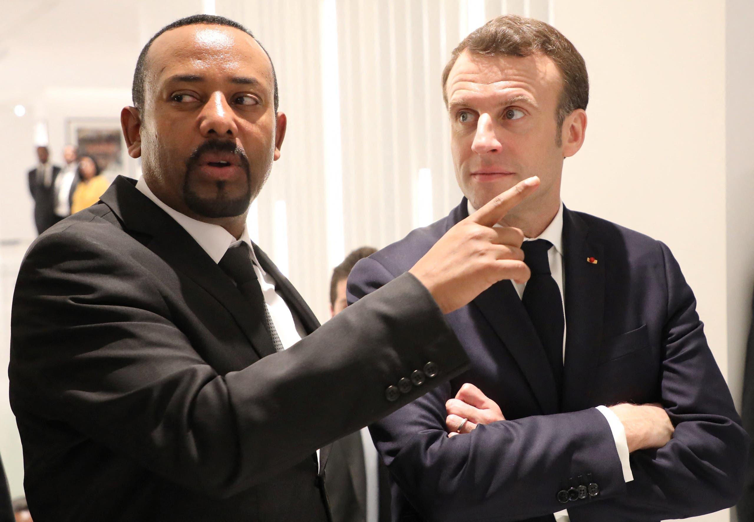 ماكرون مع رئيس الوزراء الإثيوبي أبي أحمد في أديس ابابا في 2019