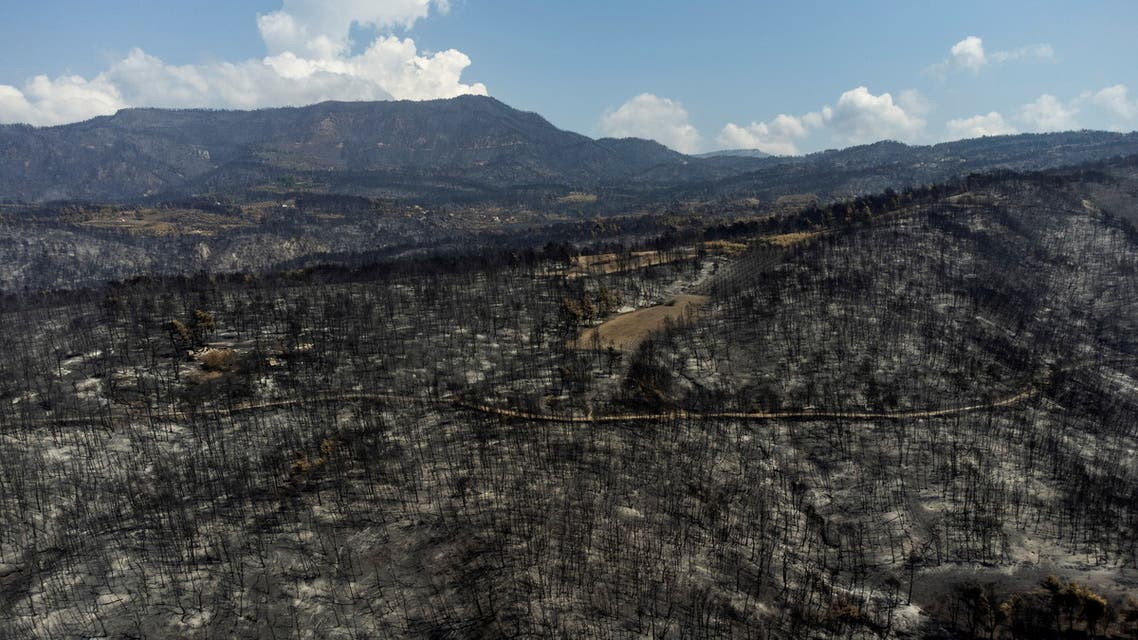 Burnt hillsides are seen following a wildfire near the village of Pefki on the island of Evia, Greece, August 12, 2021. Picture taken with a drone. REUTERS/Alkis Konstantinidis