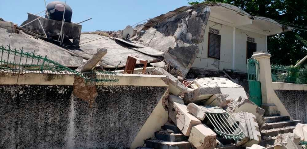 The residence of the Catholic bishop is damaged after an earthquake in Les Cayes, Haiti, August 14, 2021. (AP/Delot Jean)