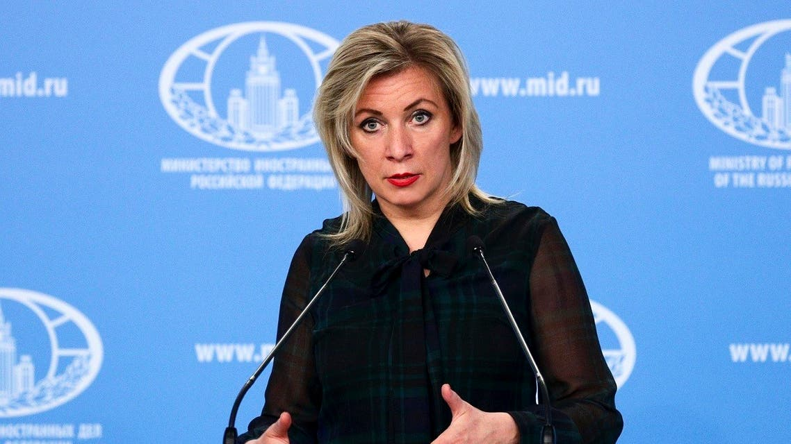 Russian Foreign Ministry spokesperson Maria Zakharova gestures while speaking during the briefing about foreign policy in Moscow, Russia, March 12, 2021. (Russian Foreign Ministry Press Service via AP)