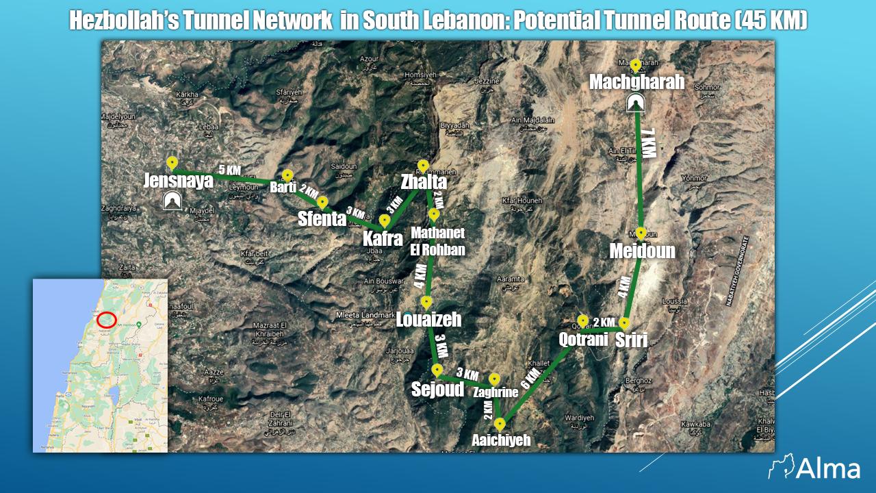 """شبكة أنفاق حزب الله نقلا عن مركز """"ألما"""" الإسرائيلي"""