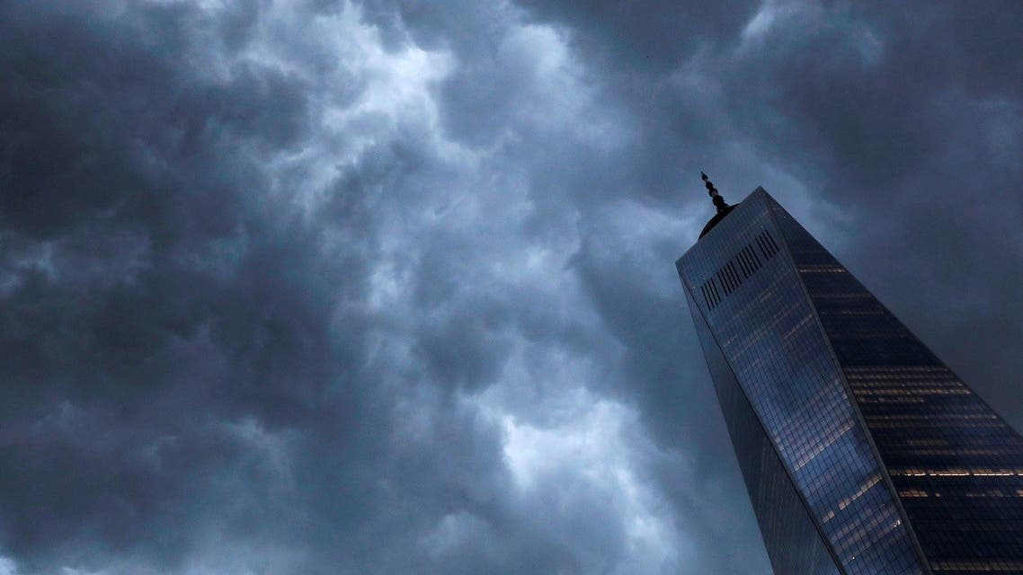 Storm clouds pass over One World Trade Center ahead of the 20th anniversary of the September 11 attacks in Manhattan, New York City. (Reuters)
