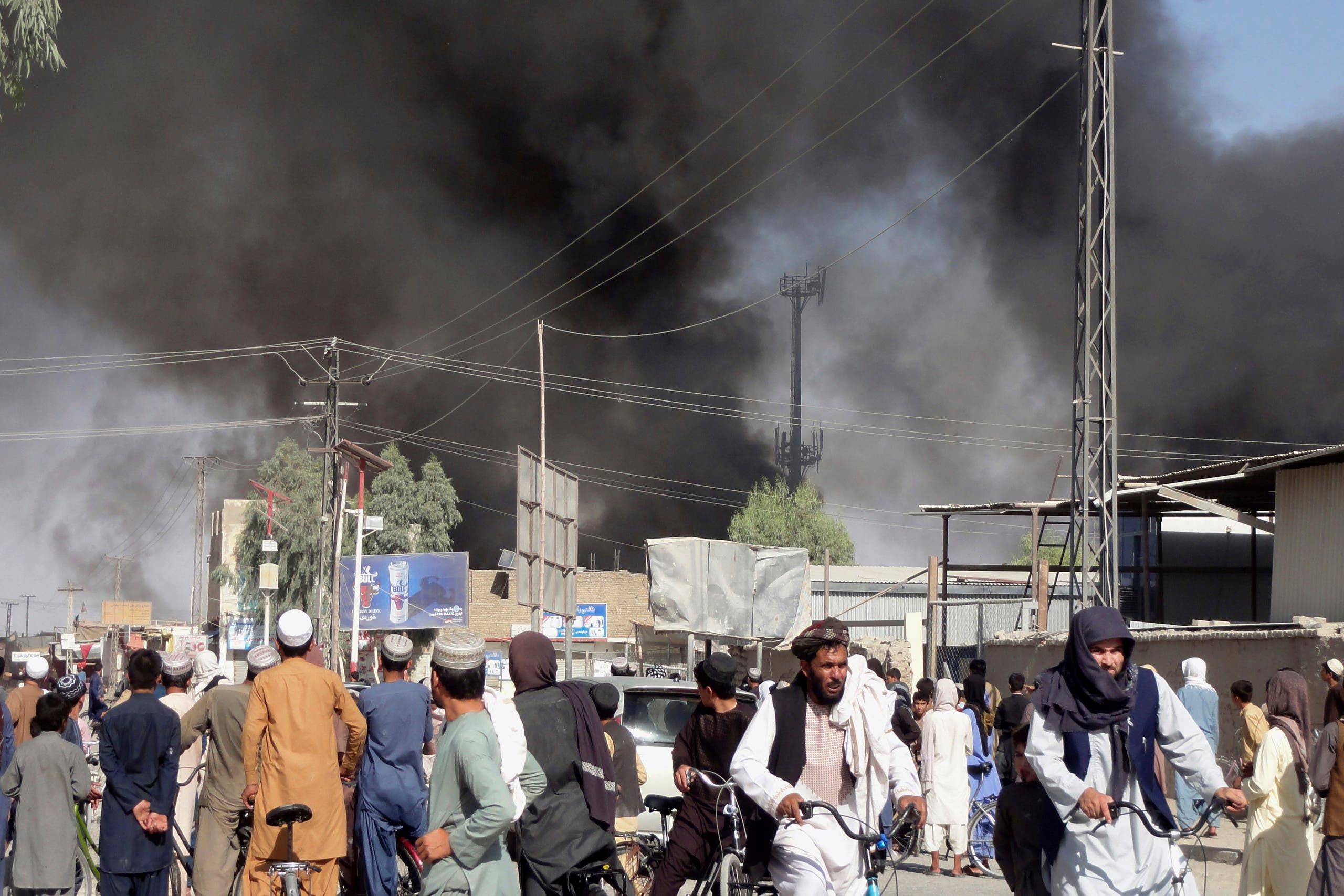 Smoke rises after fighting between the Taliban and Afghan security personnel in the city of Kandahar, southwest of Kabul, Afghanistan, Thursday, Aug. 12, 2021. (AP)