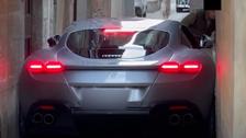 Ferrari Roma supercar gets stuck in narrow Italian road
