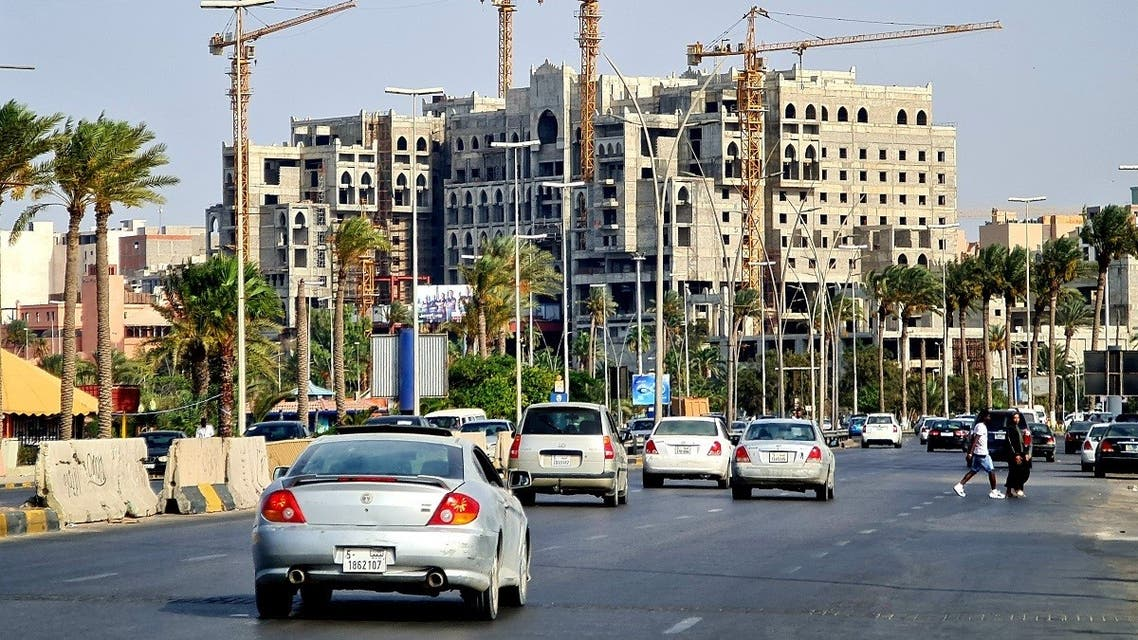 A picture taken on August 13, 2021, shows a street in the capital Tripoli. (Mahmud Turkia/AFP)