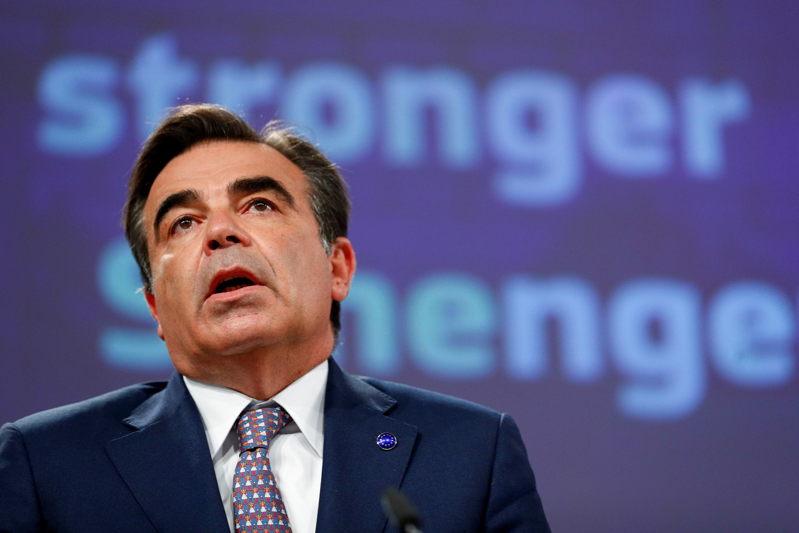 European Commission Vice President Margaritis Schinas presents a strategy for the future of Schengen and an Amendment of the Regulation establishing the Schengen Evaluation Mechanism in Brussels, Belgium June 2, 2021. (File photo: Reuters)