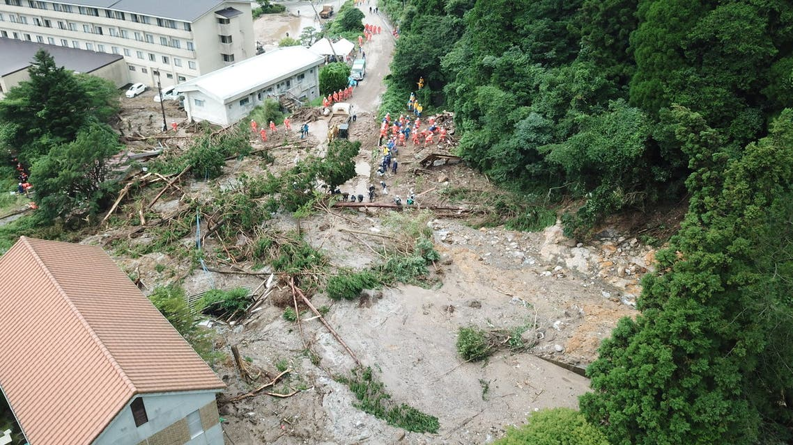 General view shows a landslide site caused by heavy rainfall in Unzen, Nagasaki Prefecture, southwestern Japan, in this handout image taken and released by Unzen City August 15, 2021. (Reuters)