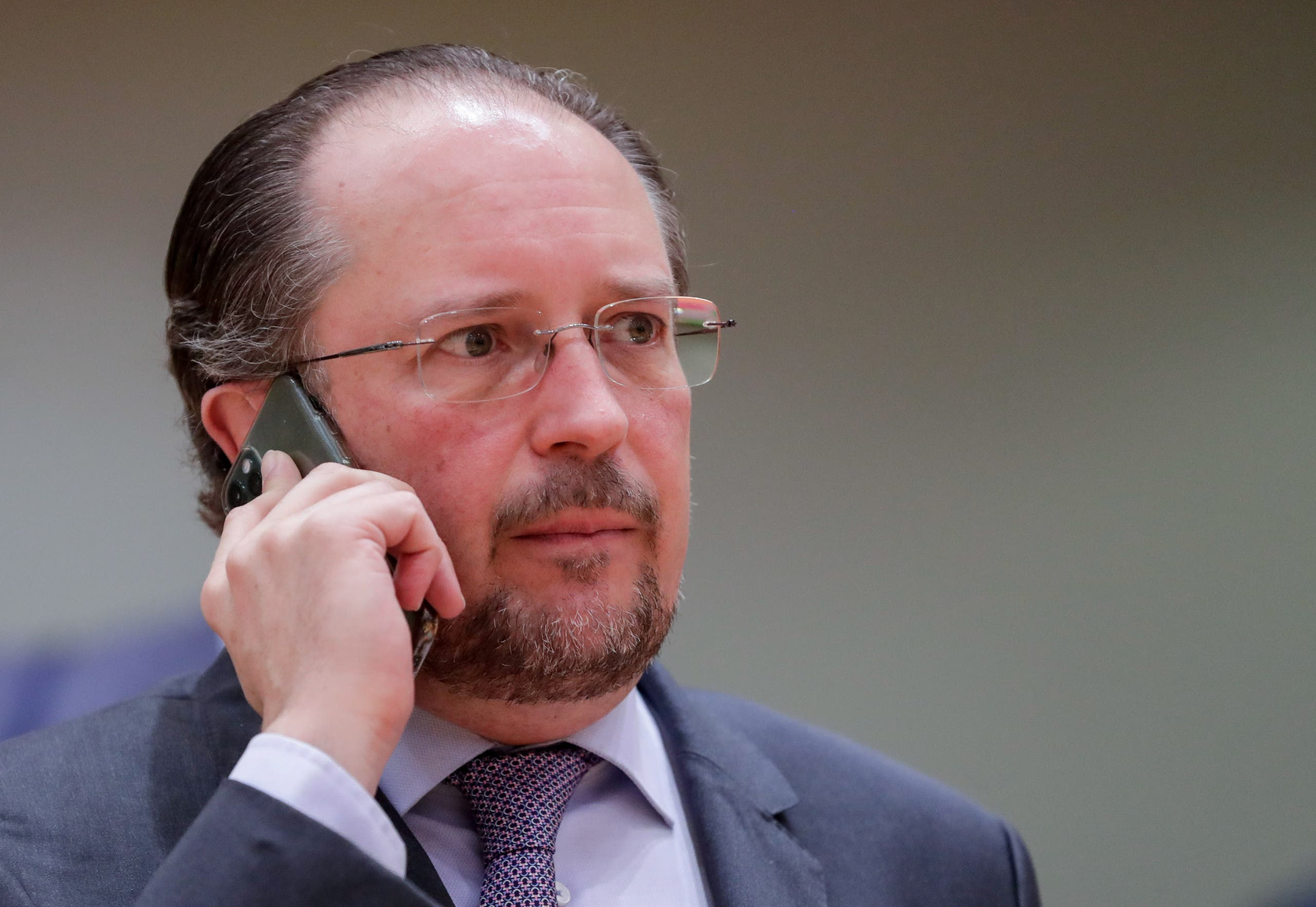Austrian Foreign Minister Alexander Schallenberg attends a meeting of EU foreign ministers at the European Council building in Brussels, Belgium July 13, 2020. (Reuters)