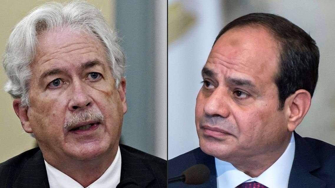 This combination of pictures created on August 15, 2021 shows CIA Director, William Burns, and Egyptian President Abdel Fattah al-Sisi (R). (Khaled Desouki, Al Drago/AFP/Pool)