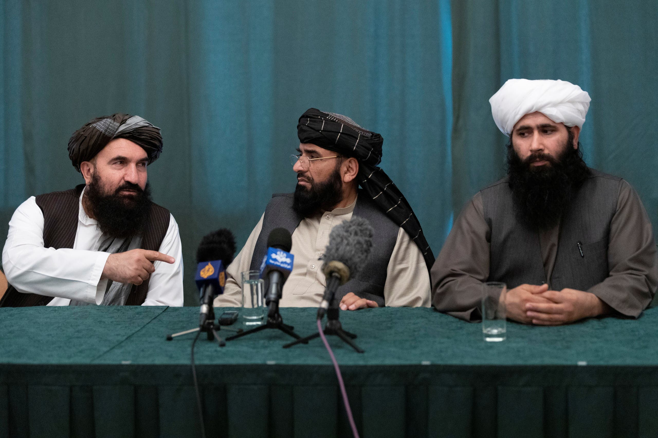 Members of the Taliban delegation: former western Herat Governor Khairullah Khairkhwa, member of the negotiation team Suhail Shaheen and spokesman for the Taliban's political office Mohammad Naeem attend a joint news conference in Moscow, Russia March 19, 2021. (File photo: Reuters)