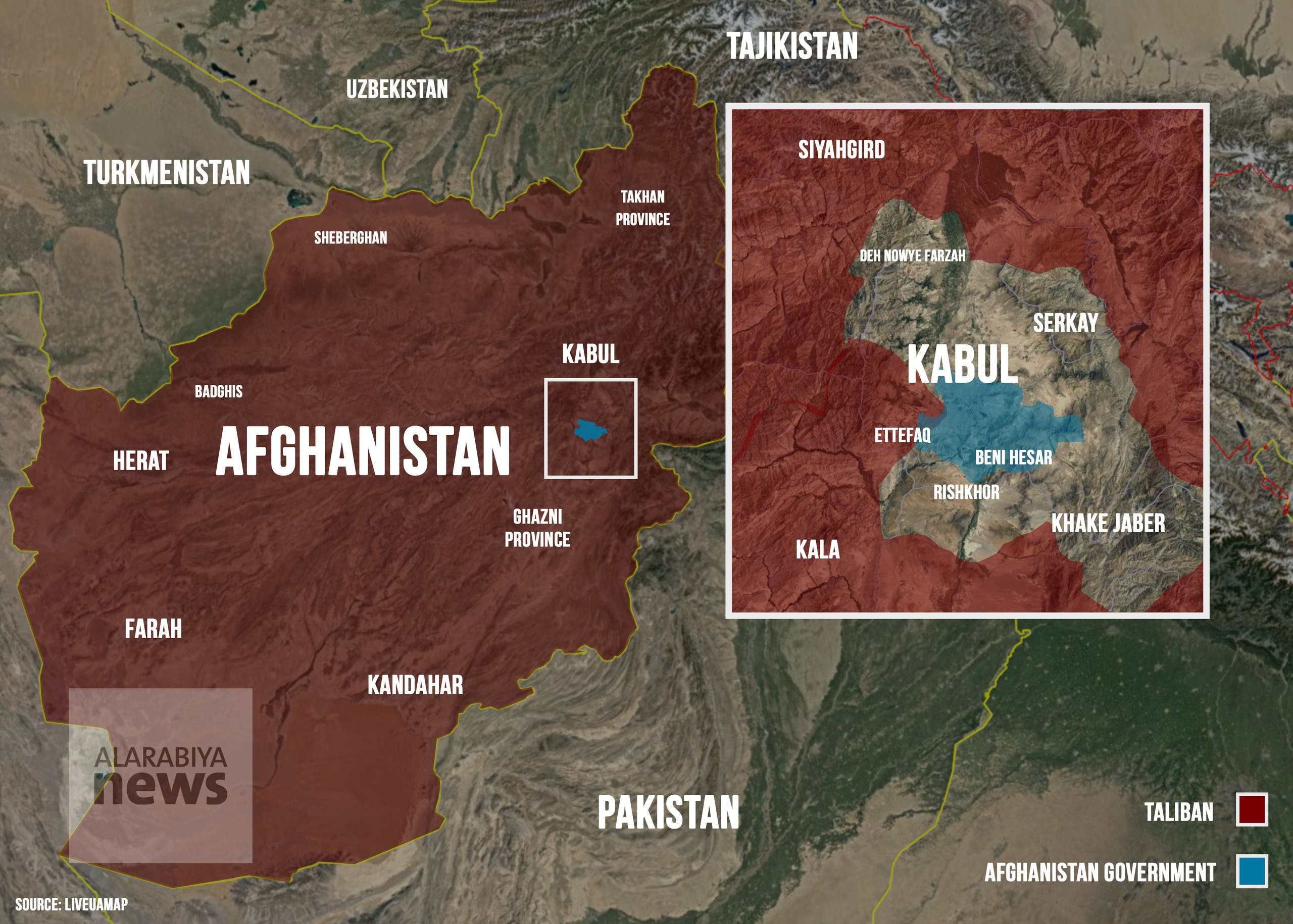 Afghanistan map August 15