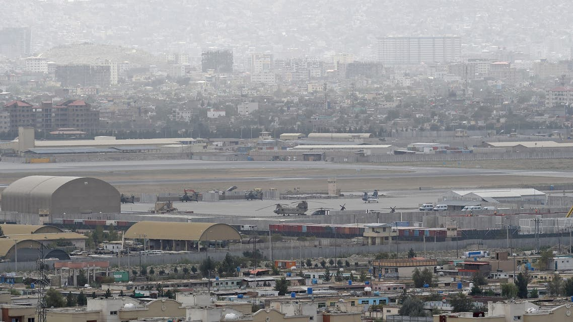 This picture taken on August 14, 2021 shows military helicopters standing on the tarmac of military airport in Kabul. (AFP)