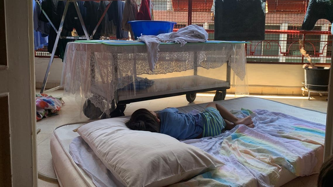 Many people have been grabbing their mattresses and sleeping on the balcony in the hope of catching a night breeze. (Image: Reem Khamis)