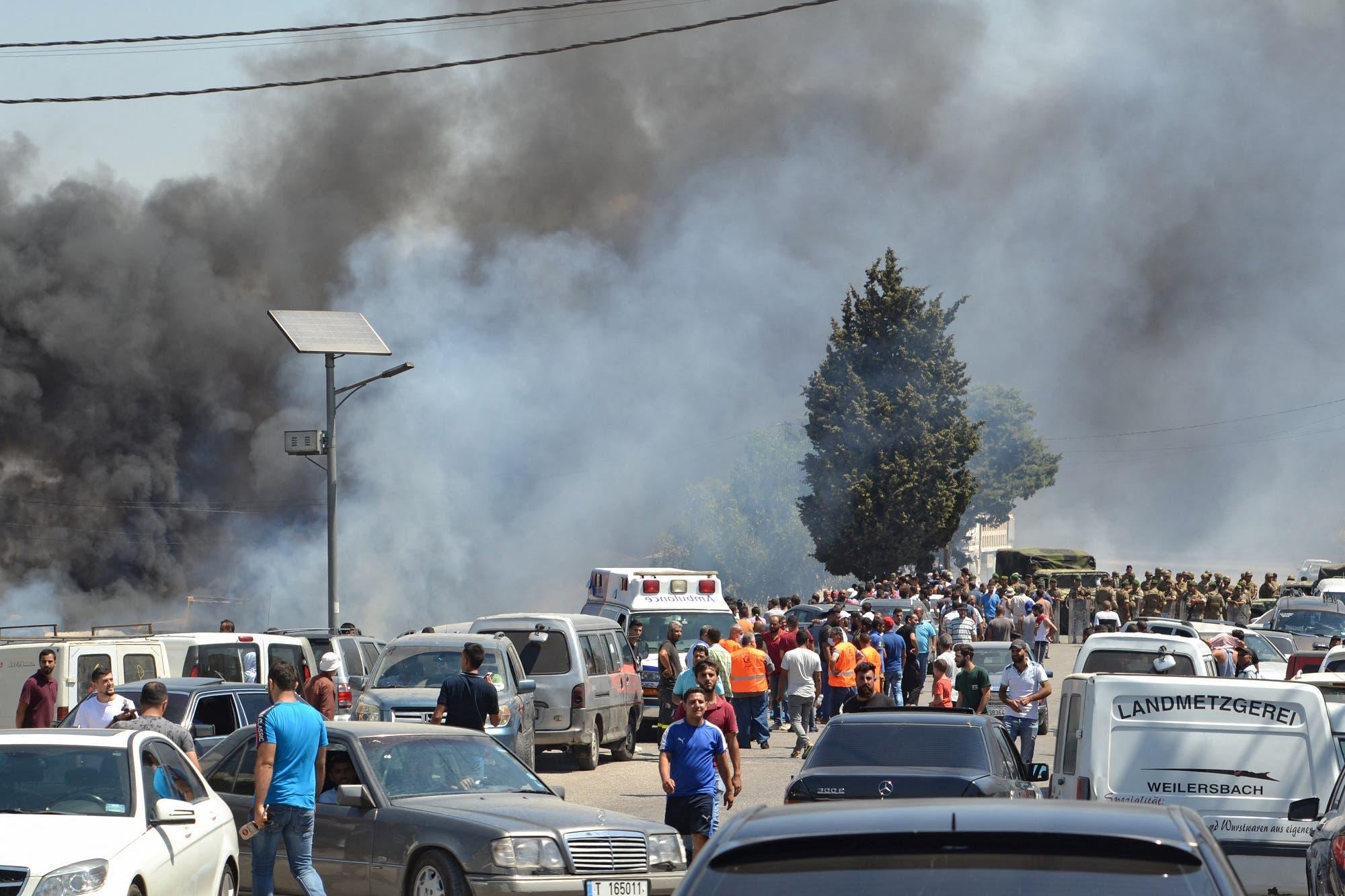 من انفجار خزان الوقود في منطقة عكار (فرانس برس)