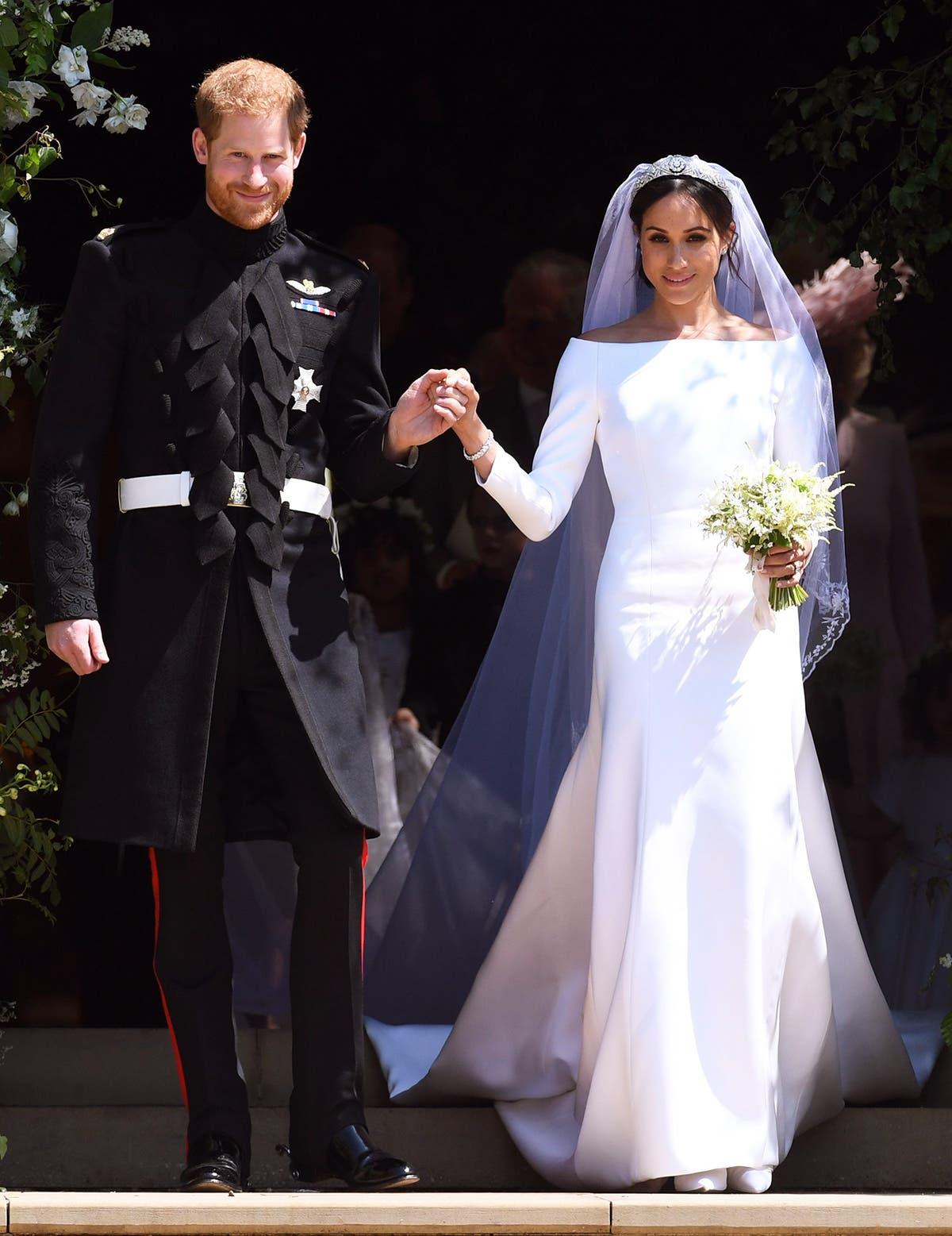 ميغان ماركل بثوب زفافها من الأمير هاري
