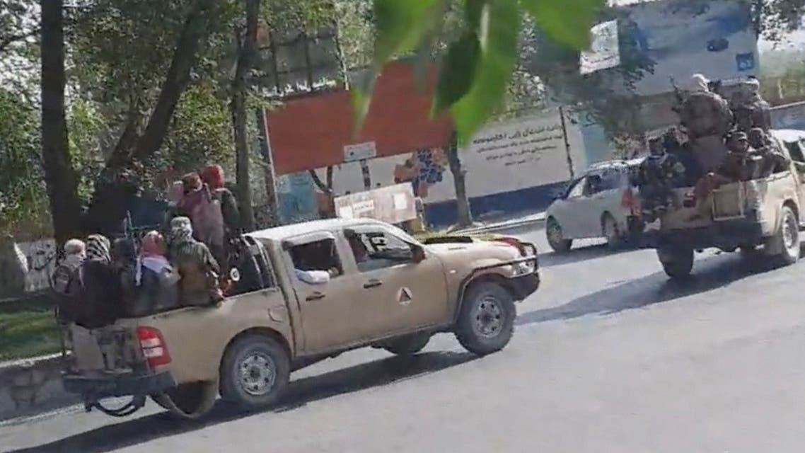 Taliban drive through the streets of Kabul, Afghanistan August 16, 2021 in this still image taken from social media video. (Snapchat/@ mr_khaludi /via Reuters)