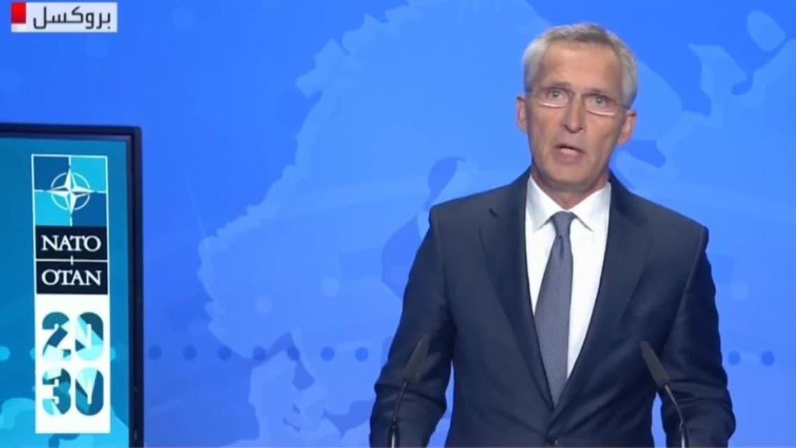 أمين عام حلف الناتو خلال مؤتمره في بروكسل