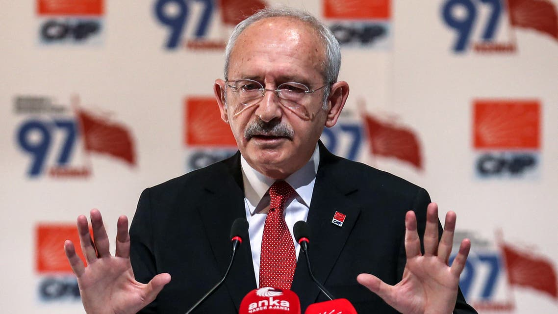 Main opposition Republican People's Party (CHP) leader Kemal Kilicdaroglu makes a press statement at his party's headquarters in Ankara, on September 16, 2020.