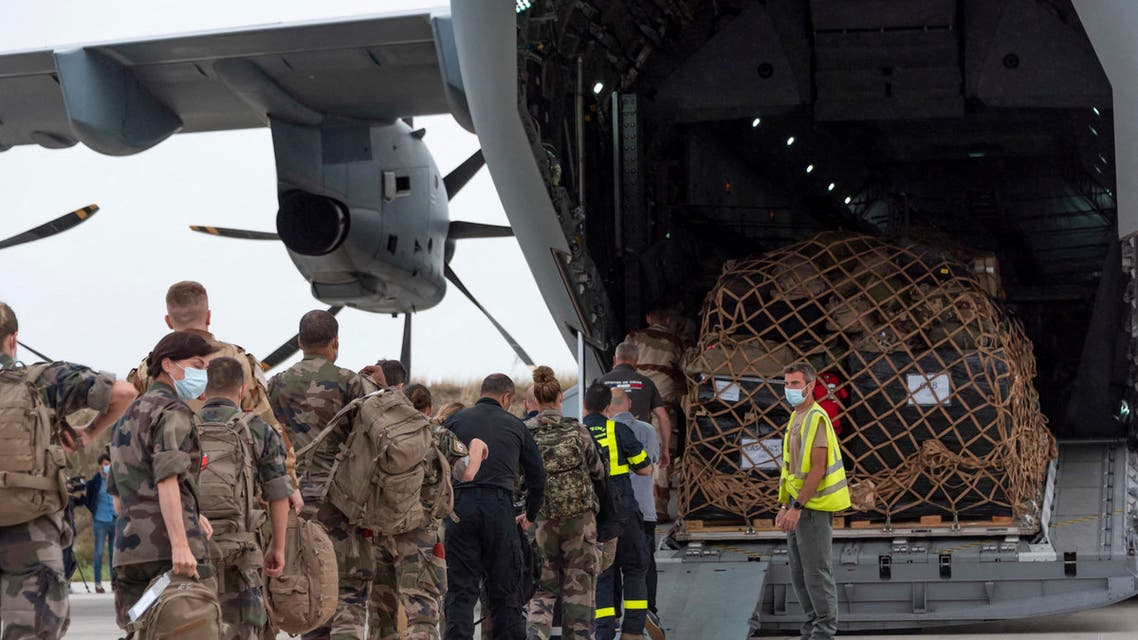 This handout photo taken and released by the French Etat-major des Armees on August 16, 2021 shows French soldiers boarding an A400M Atlas at the Bricy Air Base, a French Air and Space Force base near Orleans, for the UAE as part of the operation Apagan. The military operation dubbed Apagan, involving two French air force transport planes, a C-130 Hercules and an A400M Atlas, was launched on August 15, 2021 in order to evacuate French nationals from Afghanistan where the Taliban have taken over the country. (File photo: AFP)