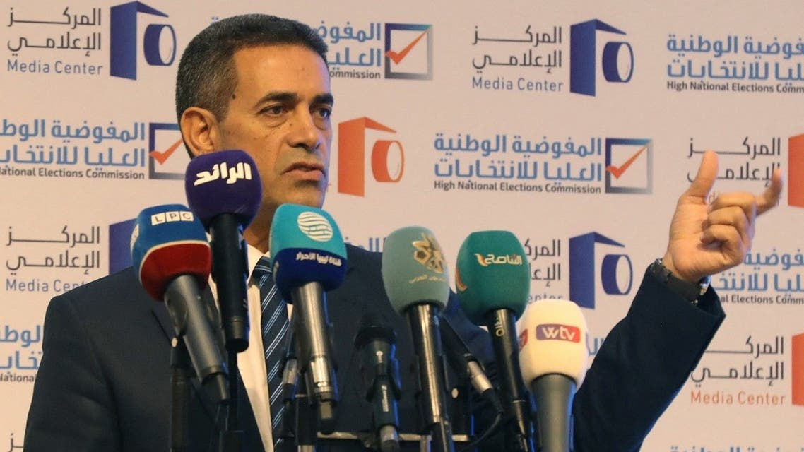 Head of Libya's national elections commission Imad al-Sayeh speaks during a press conference in the capital Tripoli, on August 17, 2021. (Mahmud Turkia/AFP)