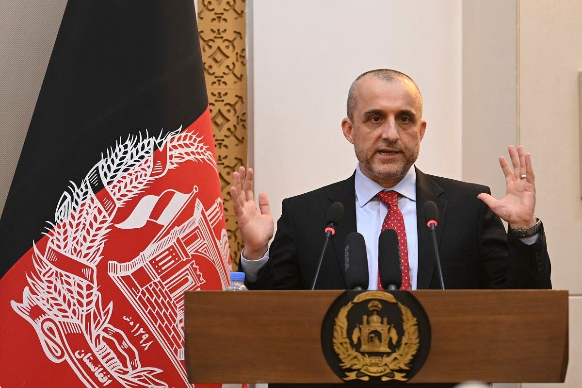 Vice President of Afghanistan Amrullah Saleh speaks during a function at the Afghan presidential palace in Kabul on August 4, 2021. (Sajjad Hussain/AFP)
