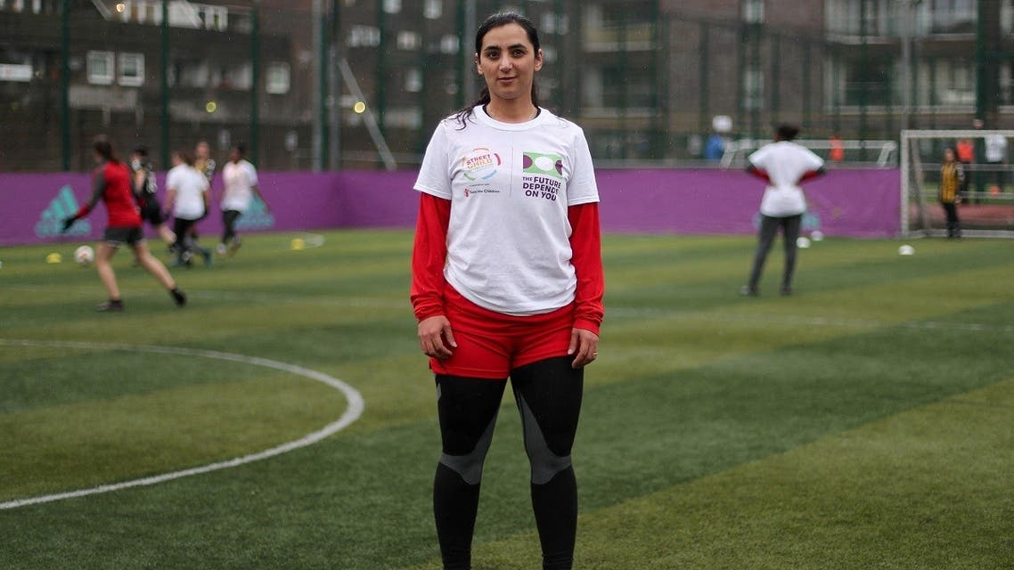 In this file photo taken on April 09, 2018 Former Afghanistan women's football captain Khalida Popal attends a training session in south London. (Daniel Leal-Olivas/AFP)