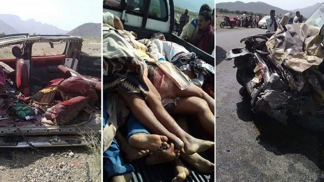 قُتل وأصيب ما لا يقل عن 18 شخصاً، اليوم الأربعاء، في حادث تصادم بين سيارة على متنها مواطنين ودورية (طقم) تقل مسلحين حوثيين، في محافظة الحديدة، غربي اليمن.