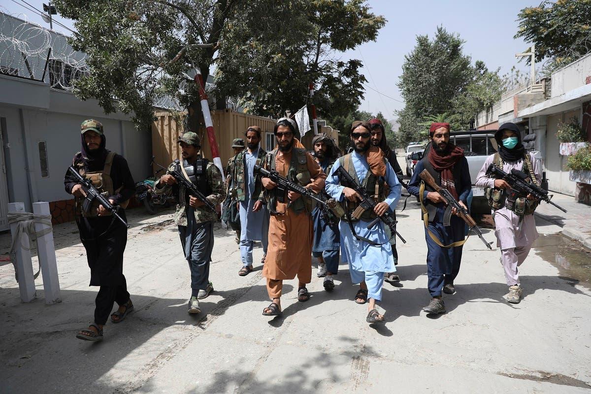 Taliban fighters patrol in the Wazir Akbar Khan neighborhood in the city of Kabul, Afghanistan, on August 18, 2021. (AP)