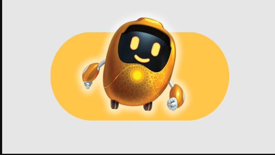 Expo 2020 mascot Opti is a golden robot known as the guardian of the Opportunity Pavilion (Supplied: Expo 2020)