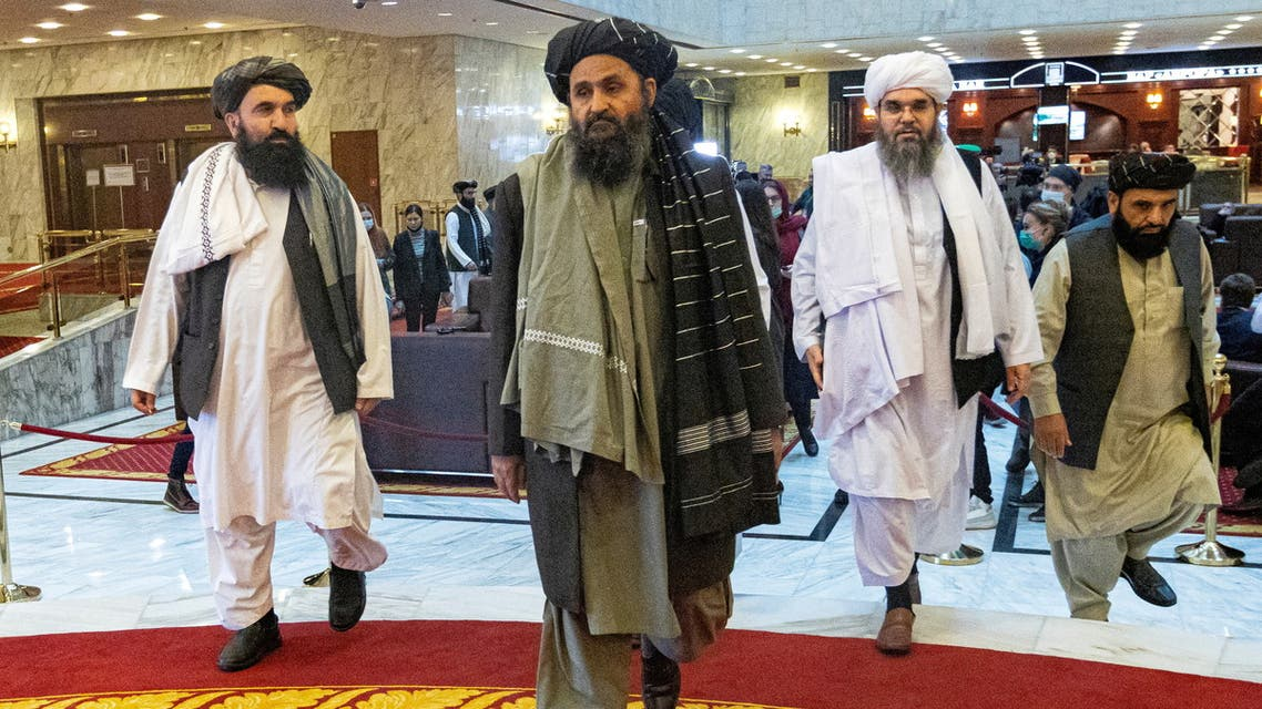 Mullah Abdul Ghani Baradar, the Taliban's deputy leader and negotiator, and other delegation members attend the Afghan peace conference in Moscow, Russia March 18, 2021. (Reuters)