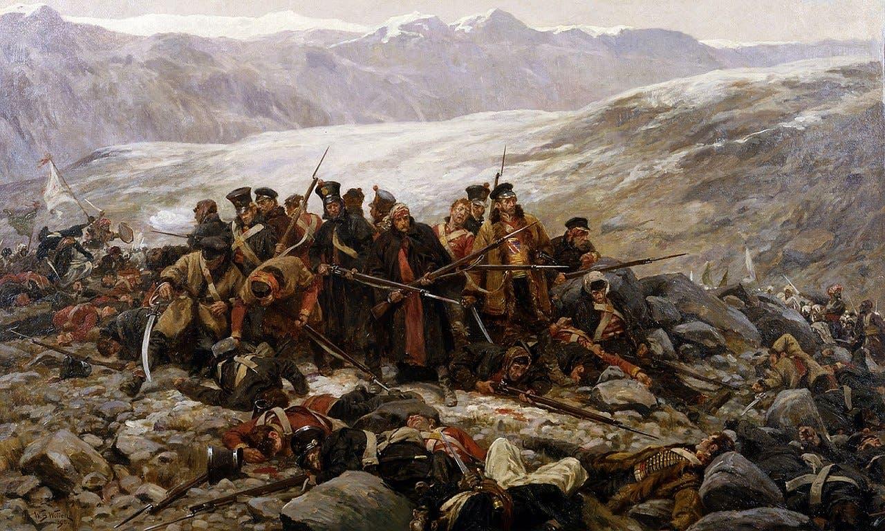 رسم تخيلي يجسد ما تبقى من الجيش البريطاني خلال المعركة الأخيرة