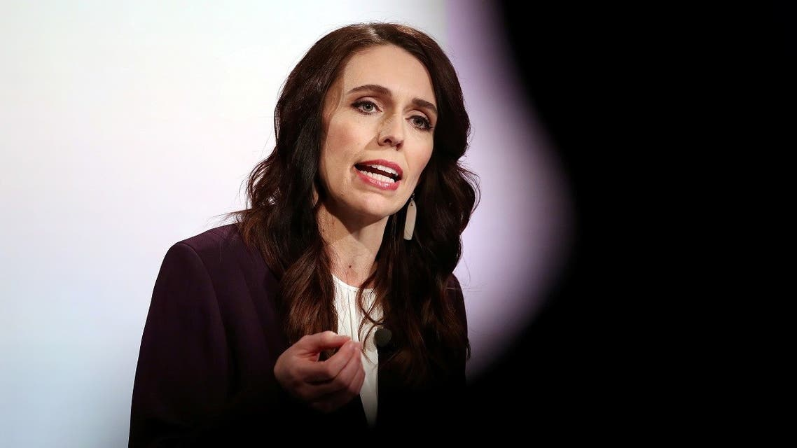 New Zealand Prime Minister Jacinda Ardern participates in a televised debate with National leader Judith Collins at TVNZ in Auckland, New Zealand, September 22, 2020. (Reuters)