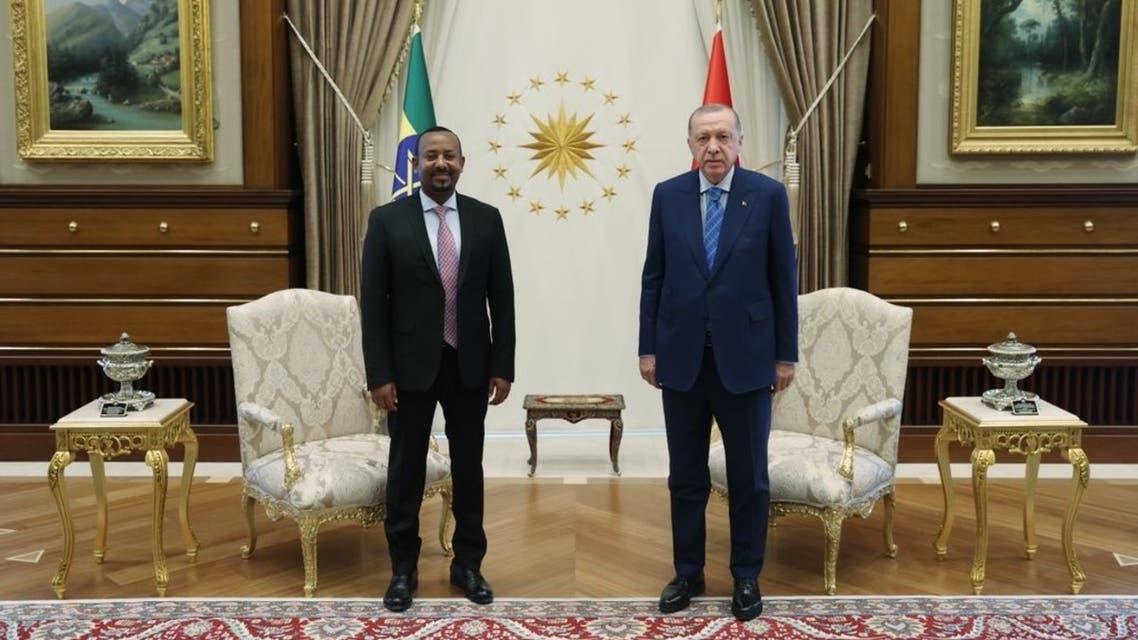 أردوغان خلال مؤتمر صحافي مشترك مع رئيس الوزراء الإثيوبي أبي أحمد الذي يزور أنقرة