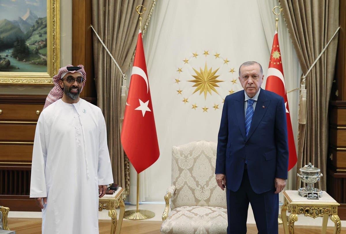 Turkey's President Erdogan receives the UAE's National Security Adviser Sheikh Tahnoun bin Zayed Al Nahyan, Turkey, August 18, 2021. (Turkish Presidency via Twitter)