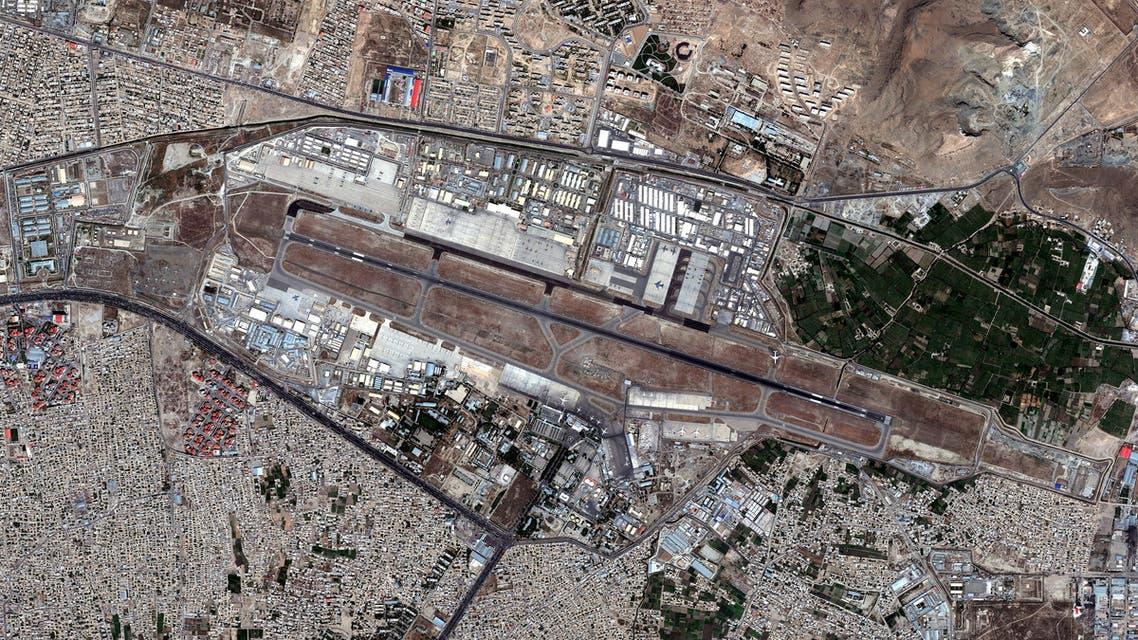 An overview of Kabul's airport in Afghanistan August 16, 2021. SATELLITE IMAGE 2021 MAXAR TECHNOLOGIES/Handout via REUTERS. ATTENTION EDITORS - MUST NOT OBSCURE WATERMARK. THIS IMAGE HAS BEEN SUPPLIED BY A THIRD PARTY. MANDATORY CREDIT. NO RESALES. NO ARCHIVES.