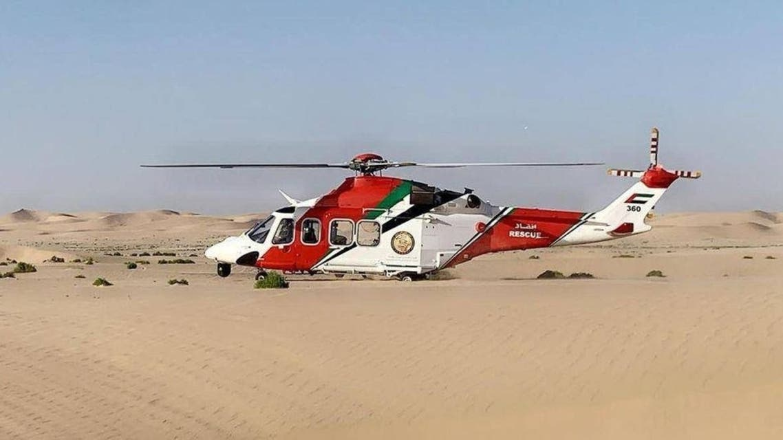 The UAE nationals were rescued by the National Search and Rescue center (NSRC), after having been stranded in Al Razeen Desert, in Abu Dhabi. (Supplied)