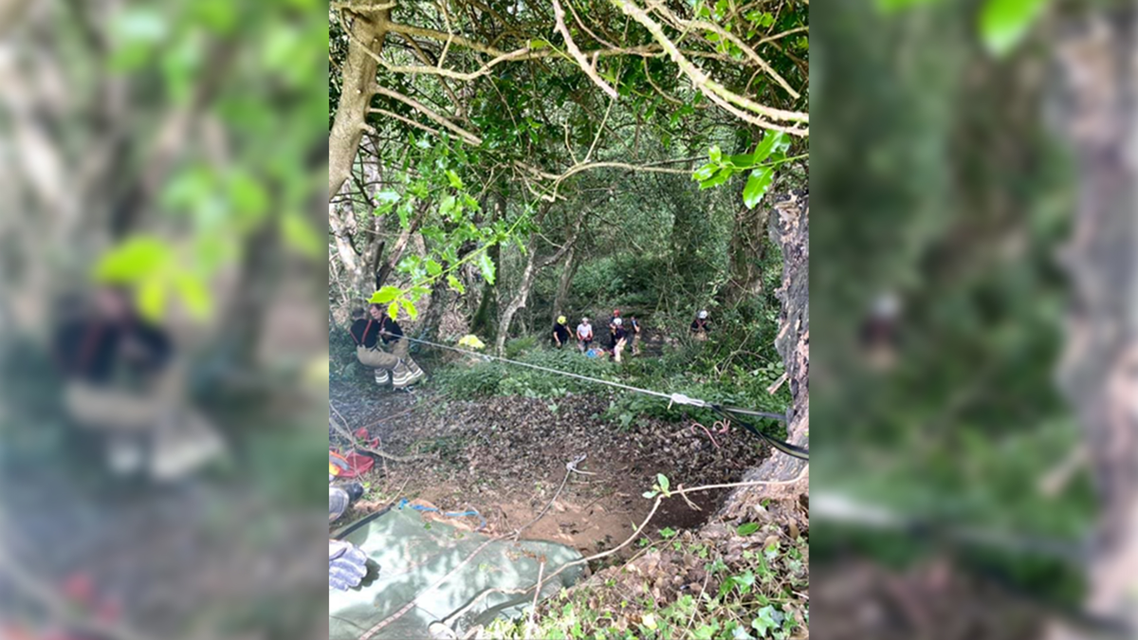 Rescue team helping elderly woman who fell into a ravine. (Facebook)