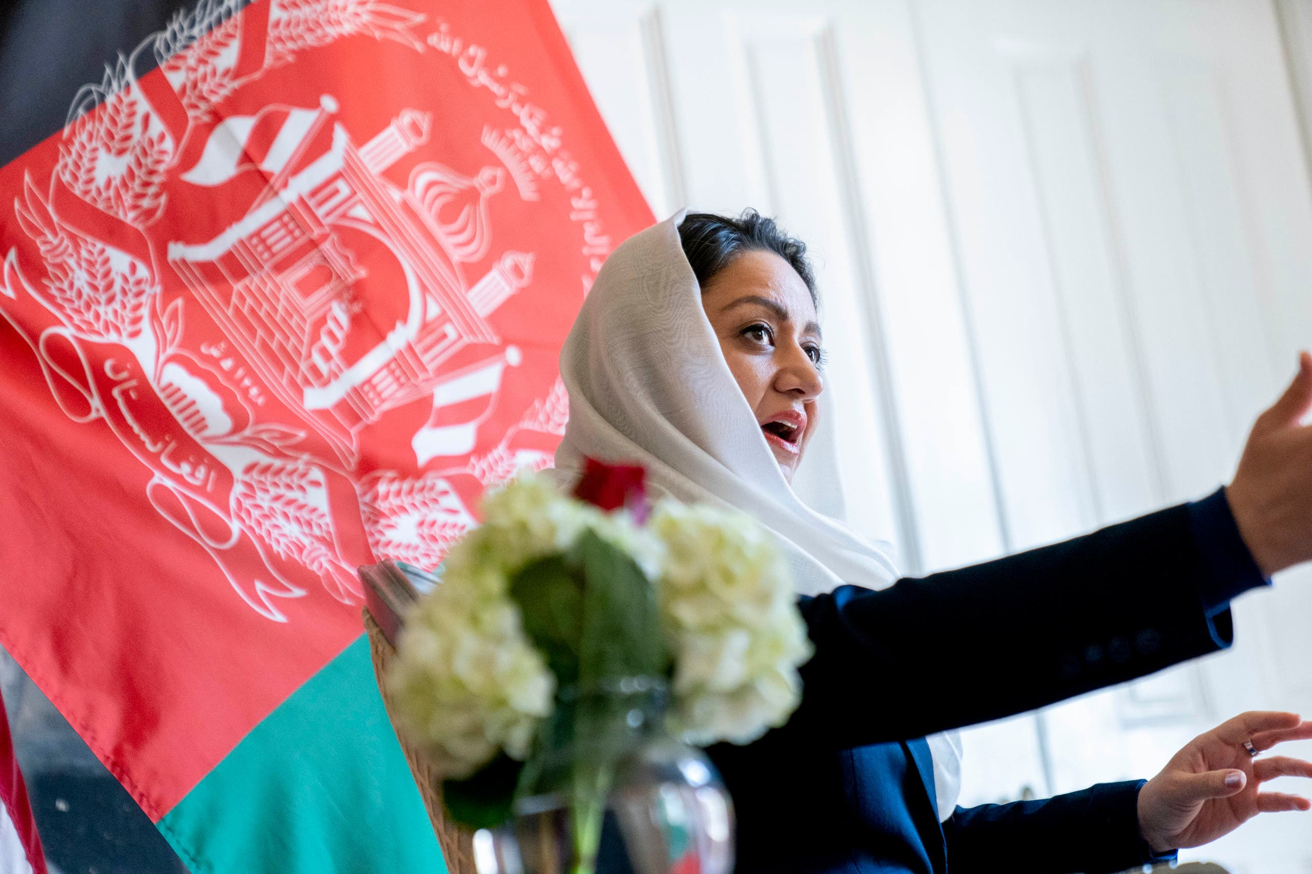 Afghan Ambassador to the U.S. Roya Rahmani speaks during an interview at the Afghanistan Embassy in Washington, Wednesday, April 21, 2021. (AP)
