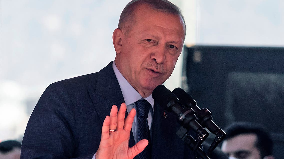 Turkish President Recep Tayyip Erdogan gives a speech following a parade in the northern part of Cyprus' divided capital Nicosia, in the self-declared Turkish Republic of Northern Cyprus, on July 20, 2021. (File photo: AFP)