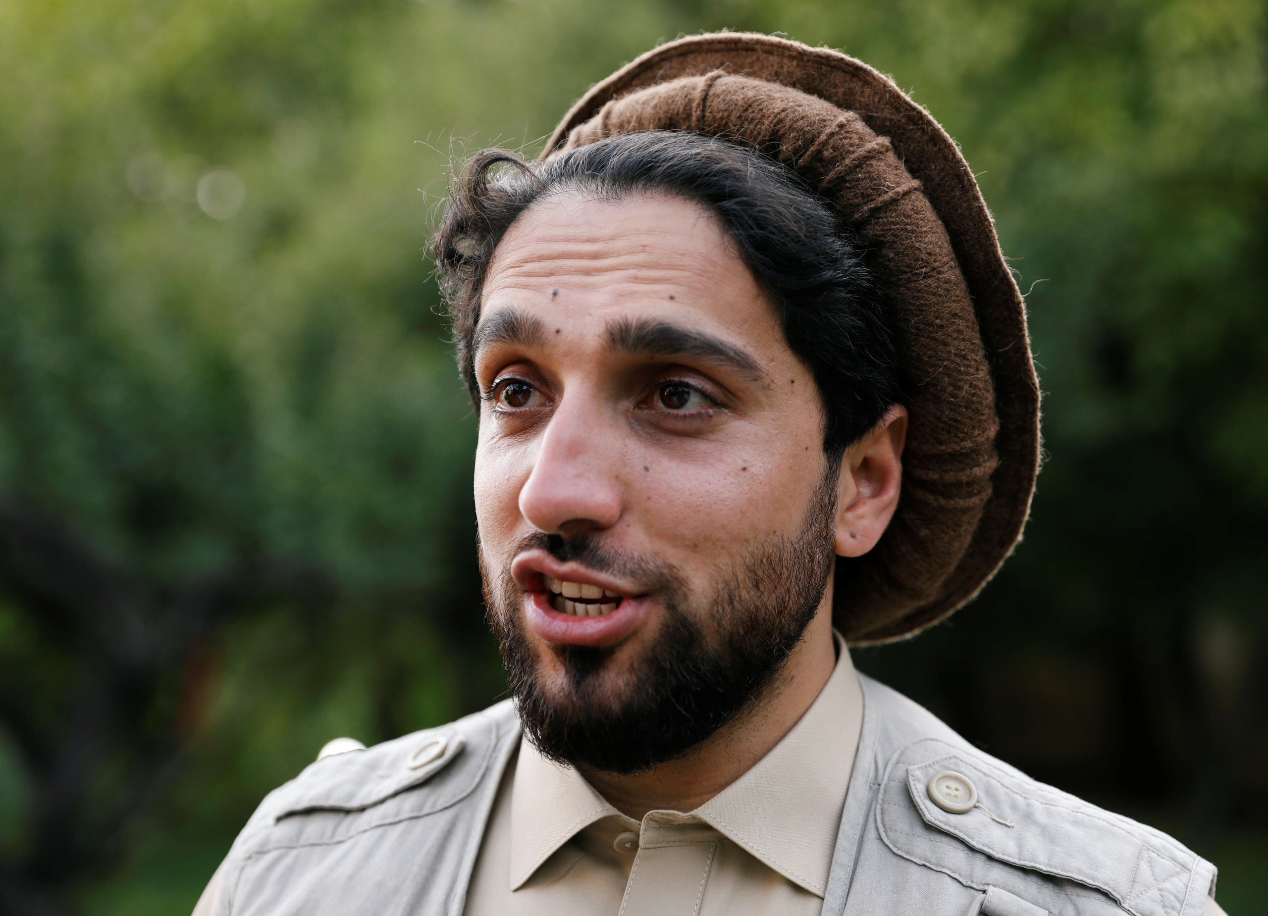 Ahmad Massoud, son of the slain hero of the anti-Soviet resistance, Ahmad Shah Massoud, speaks during an interview at his house in Bazarak, Panjshir province Afghanistan September 5, 2019. Picture taken September 5, 2019. (Reuters)